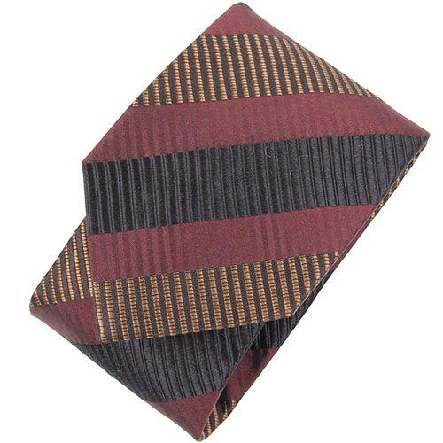 Бордовый галстук DKNY в фактурную полоску разных цветов, фото