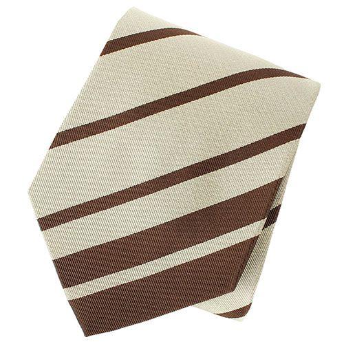 Галстук DKNY бежевого цвета с коричневыми полосками, фото