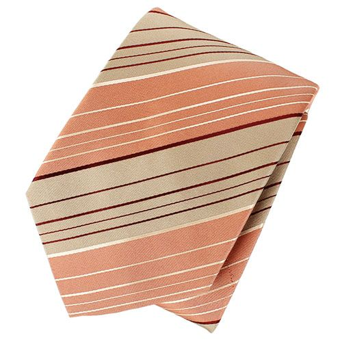 Галтук DKNY бежевого цвета с персиковыми полосками, фото