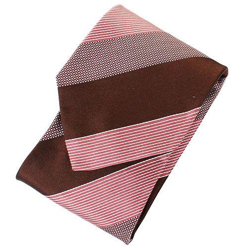Галстук DKNY розового цвета в коричневую полоску с мелким геометрическим рисунком, фото