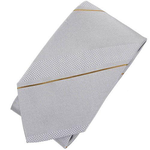 Серый галстук DKNY с тонкой коричневой полоской, фото