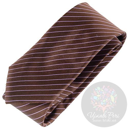 Галстук Nodus коричневого цвета в сиреневую полоску, фото