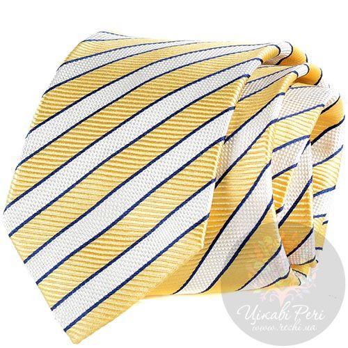 Галстук Nodus в желто-белую полоску, фото