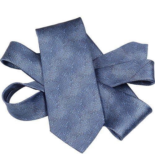 Шелковый галстук Lanvin синий с абстрактным серо-голубым рисунком, фото