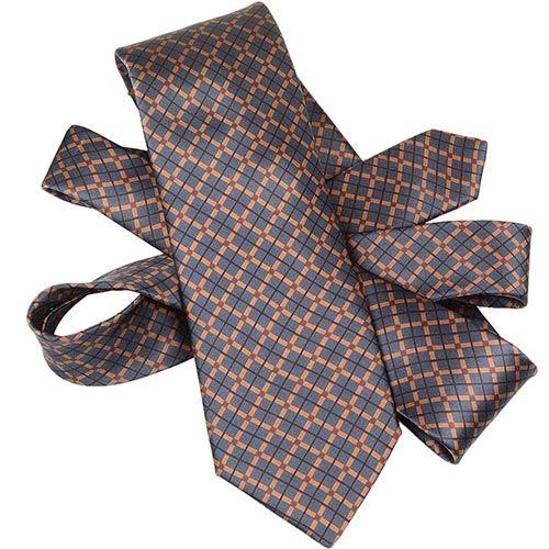 Шелковый галстук Lanvin серо-коричневый в клетку, фото