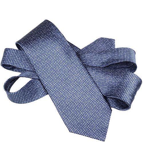 Шелковый галстук Lanvin темно-синий с серо-голубой мелкой клеткой, фото