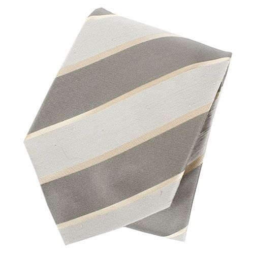 Галстук DKNY шелковый цвета муссон втемно-серую полоску, фото