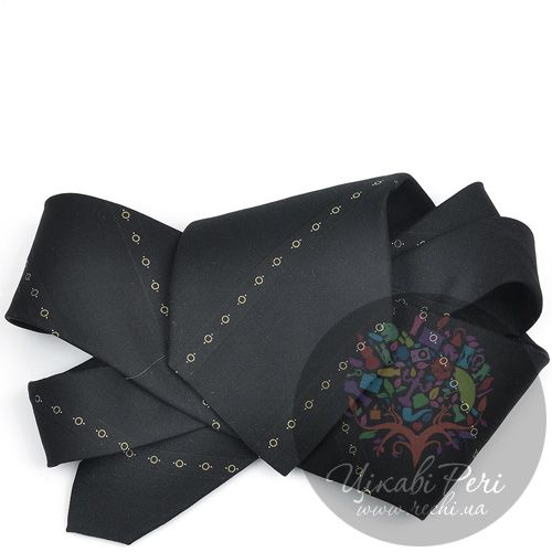 Галстук DKNY черный со сдержанными орнаментальными полосами, фото