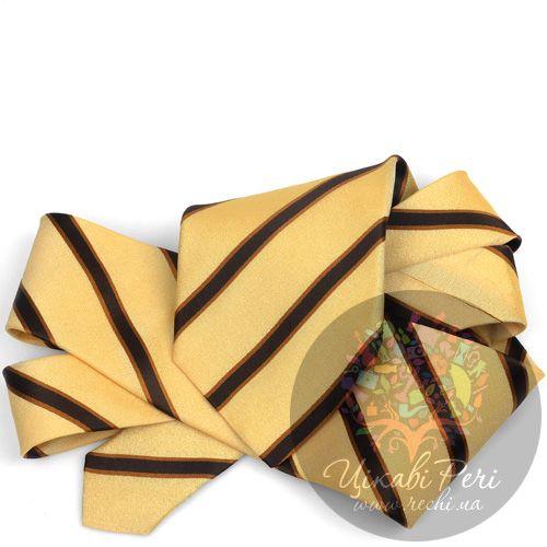 Галстук DKNY шелковый гладкий коричнево-желтый с полосами, фото