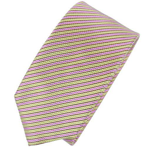 Галстук Nodus шелковый в полосу сиреневого и лимонного цвета, фото