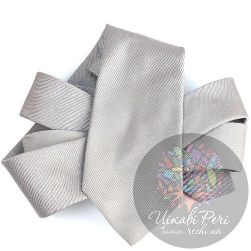 Галстук Valentino шелковый светло-серый, фото