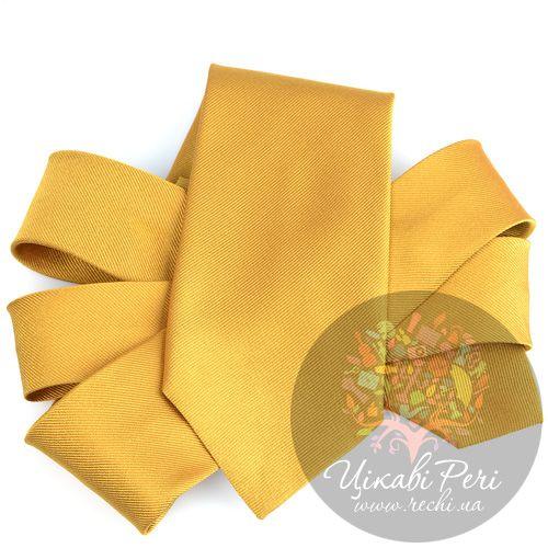 Галстук Valentino шелковый охристо-желтый, фото
