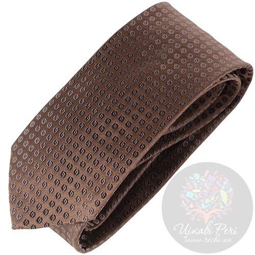 Галстук Trussardi коричневый с мелким орнаментом, фото