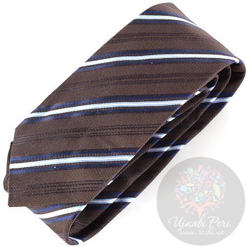 Галстук Trussardi темно-коричневый в голубую полоску, фото