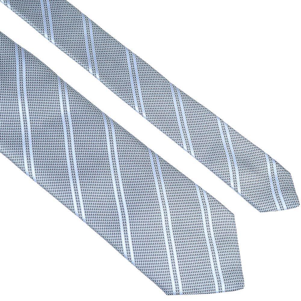 Шелковый галстук Lanvin серо-голубой строгий с диагональными полосами