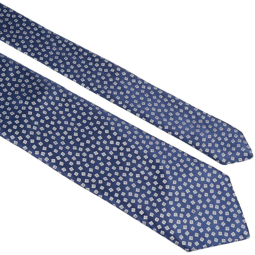 Шелковый галстук Lanvin темно-синий с рисунком