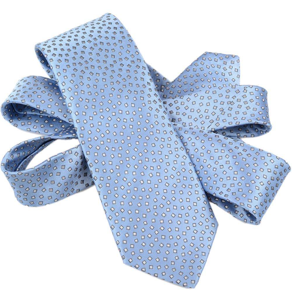 Шелковый галстук Lanvin голубой с рисунком