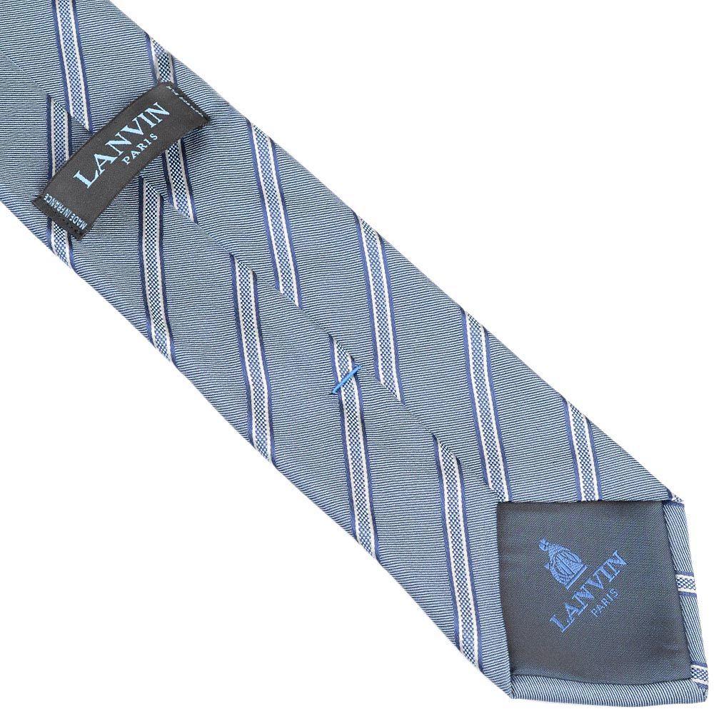 Шелковый галстук Lanvin серый строгий с тонкими темно-синими полосами
