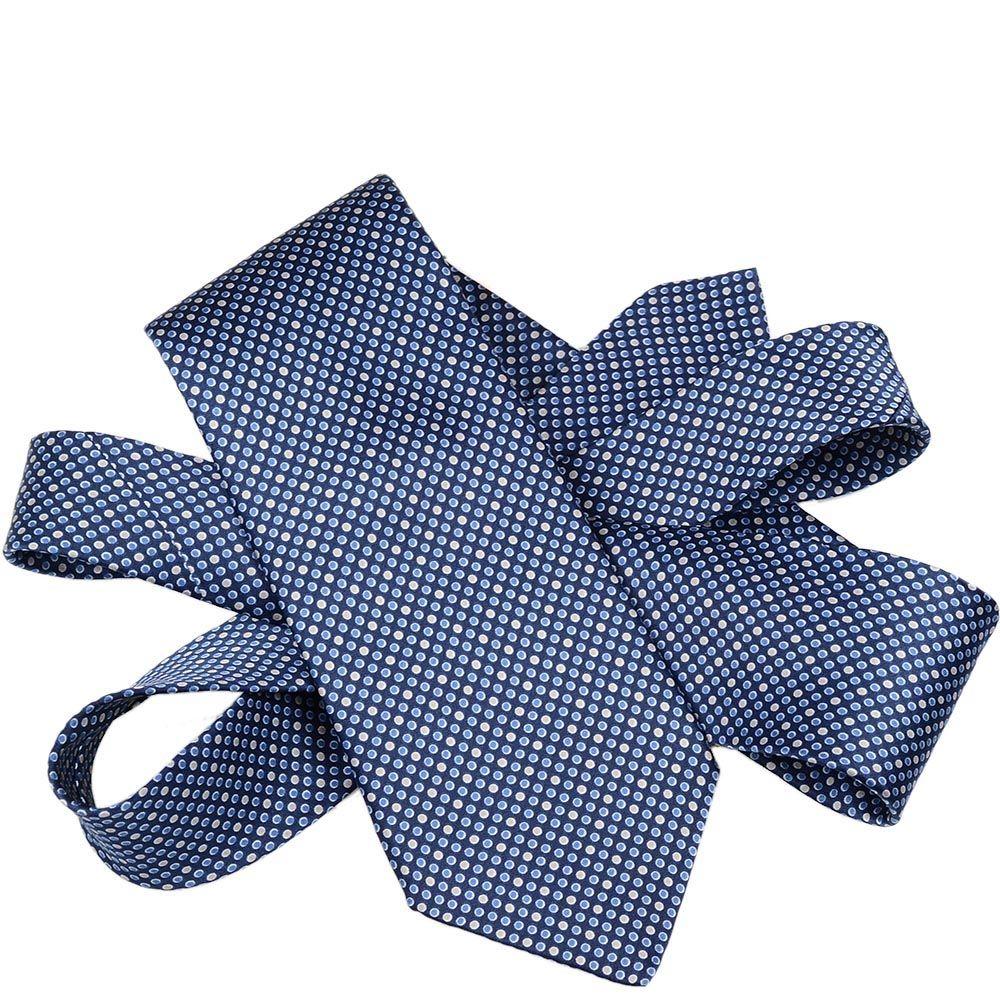Шелковый галстук Lanvin темно-синий с мелким голубым и белым горохом