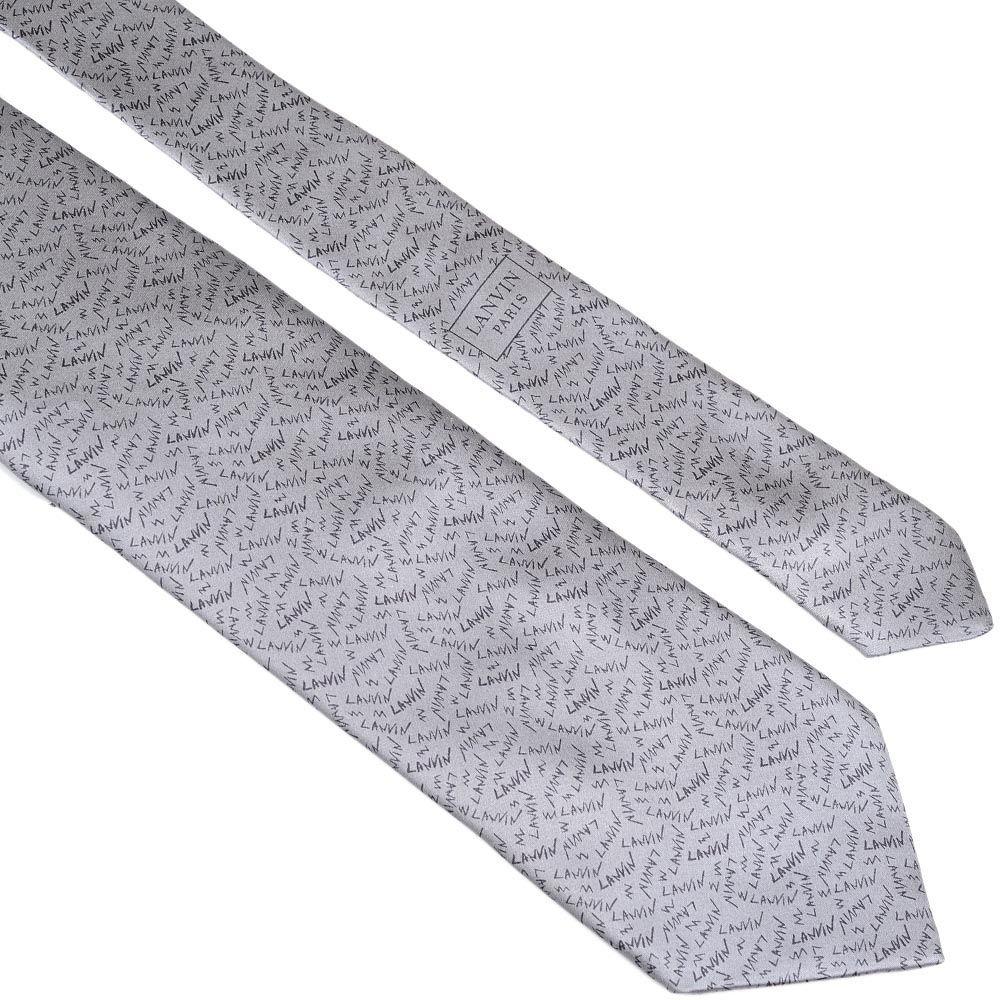 Шелковый галстук Lanvin серый с надписями в виде имени бренда