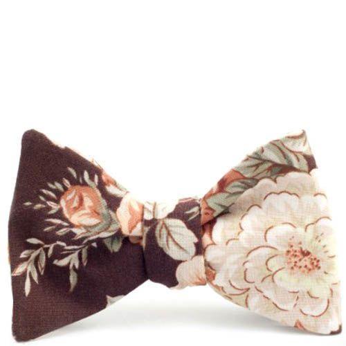 Галстук-бабочка Baboon двухсторонняя коричневый с бежевым в цветок