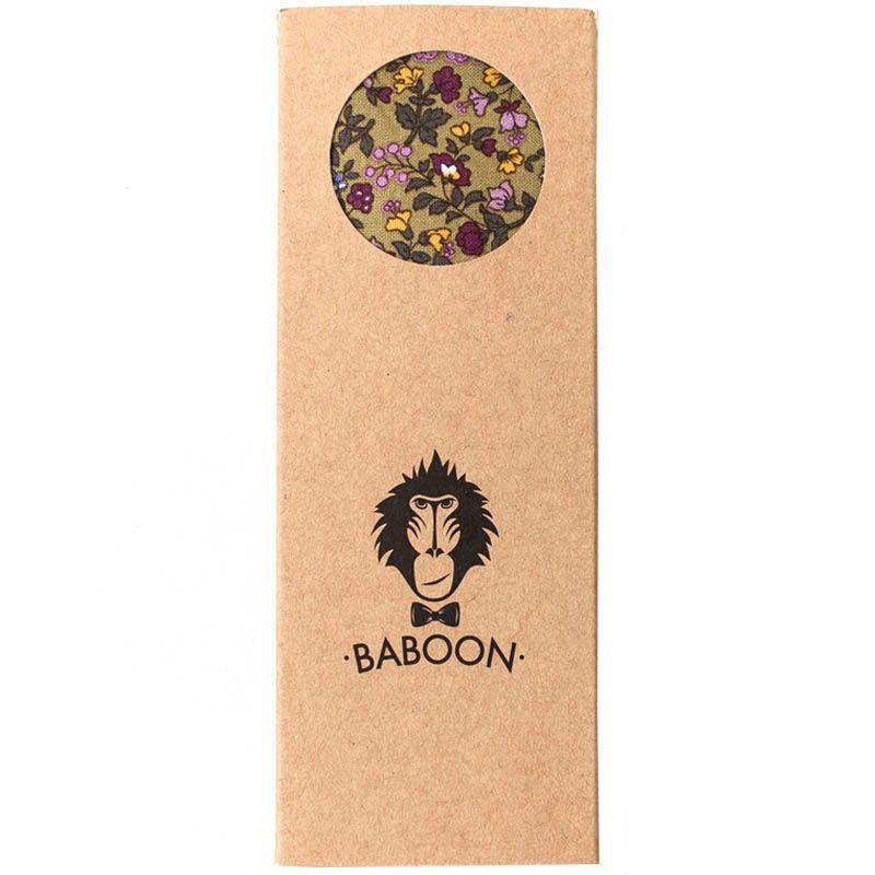 Галстук-бабочка Baboon двухсторонняя с цветами на коричневом и синем фоне