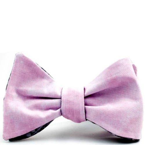 Галстук-бабочка Baboon двухсторонняя с розовой сторой и серой в мелкий принт
