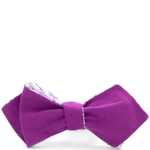Галстук-бабочка Baboon двухсторонняя с острыми краями фиолетовая с цветочным принтом