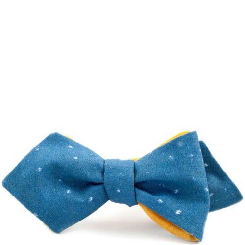 Галстук-бабочка Baboon двухсторонняя с острыми краями желтая с синим