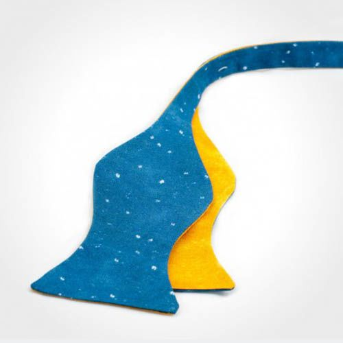 Галстук-бабочка Baboon двухсторонняя синяя с желтым