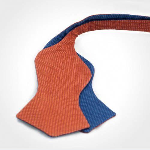 Галстук-бабочка Baboon двухсторонняя синяя с оранжевым в мелкий горох