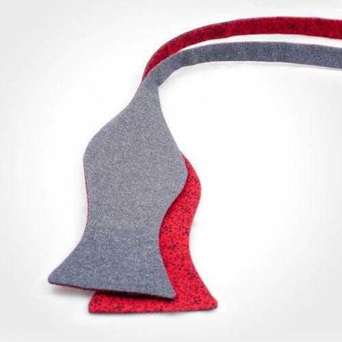 Галстук-бабочка Baboon двухсторонняя серая с красным