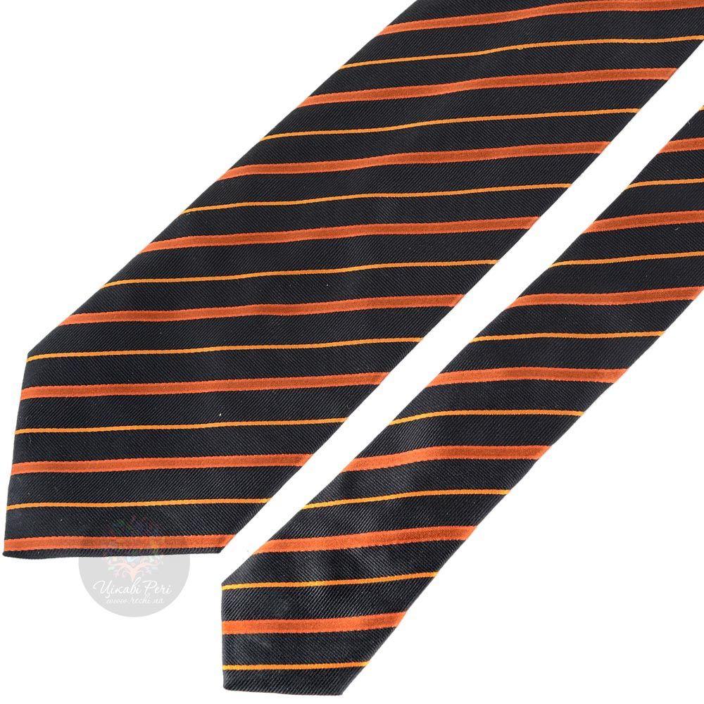 Галстук Balenciaga черный в оранжевую полоску