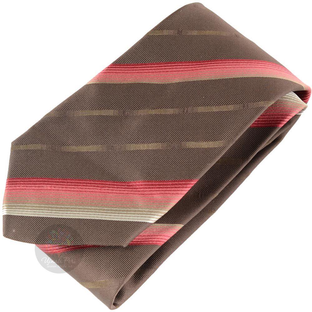Галстук DKNY коричневый в розовую полоску