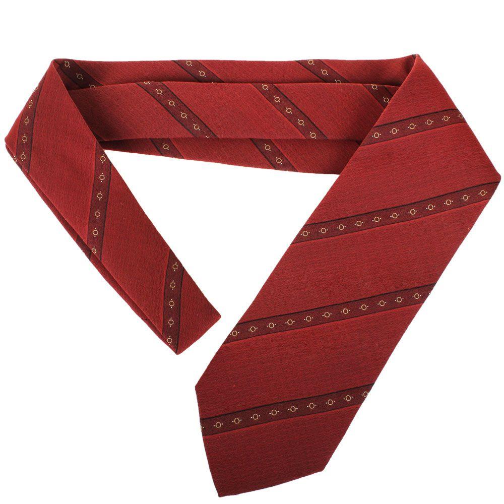 Бордовый галстук DKNY с полосками и рисунком в виде бежевых кружочков