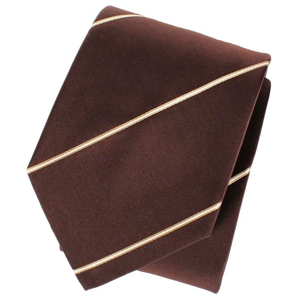 Коричневый галстук DKNY гладкий с тонкими бело-золотыми полосками