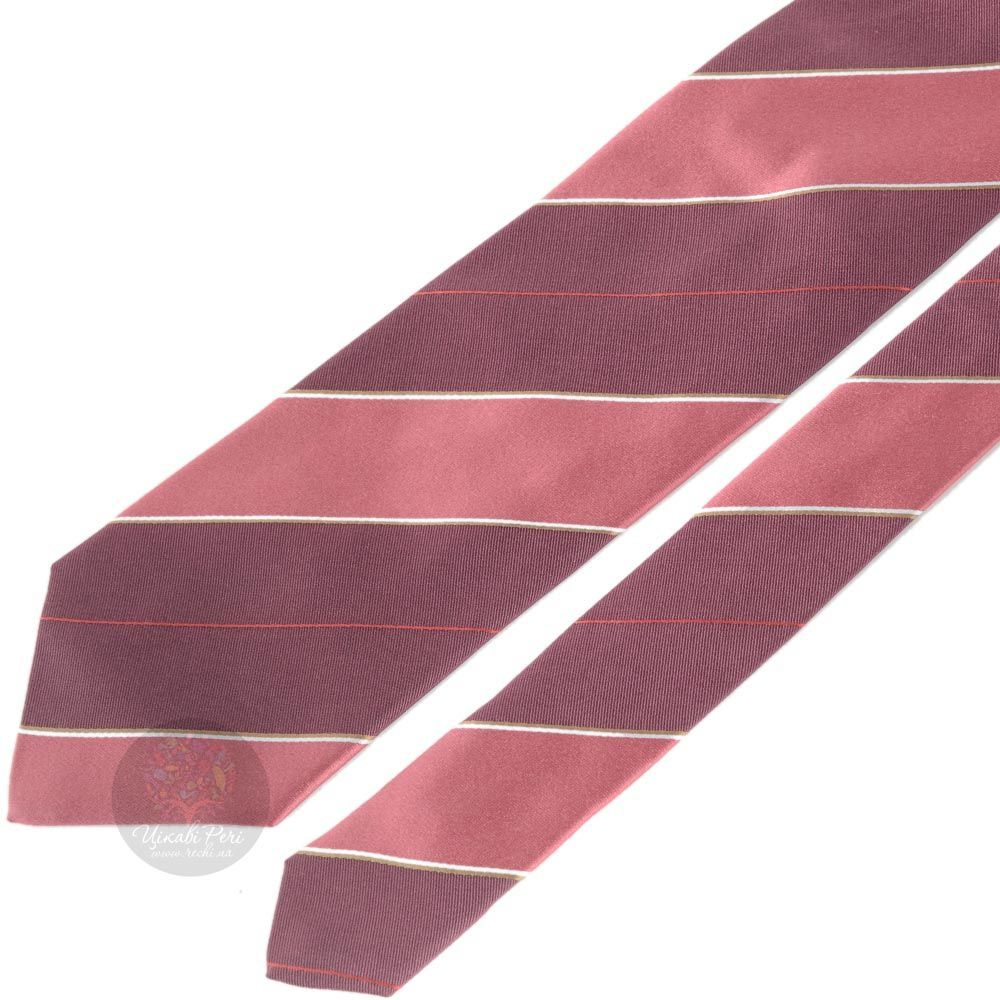 Галстук DKNY насыщенно-розового цвета в сливовую полоску