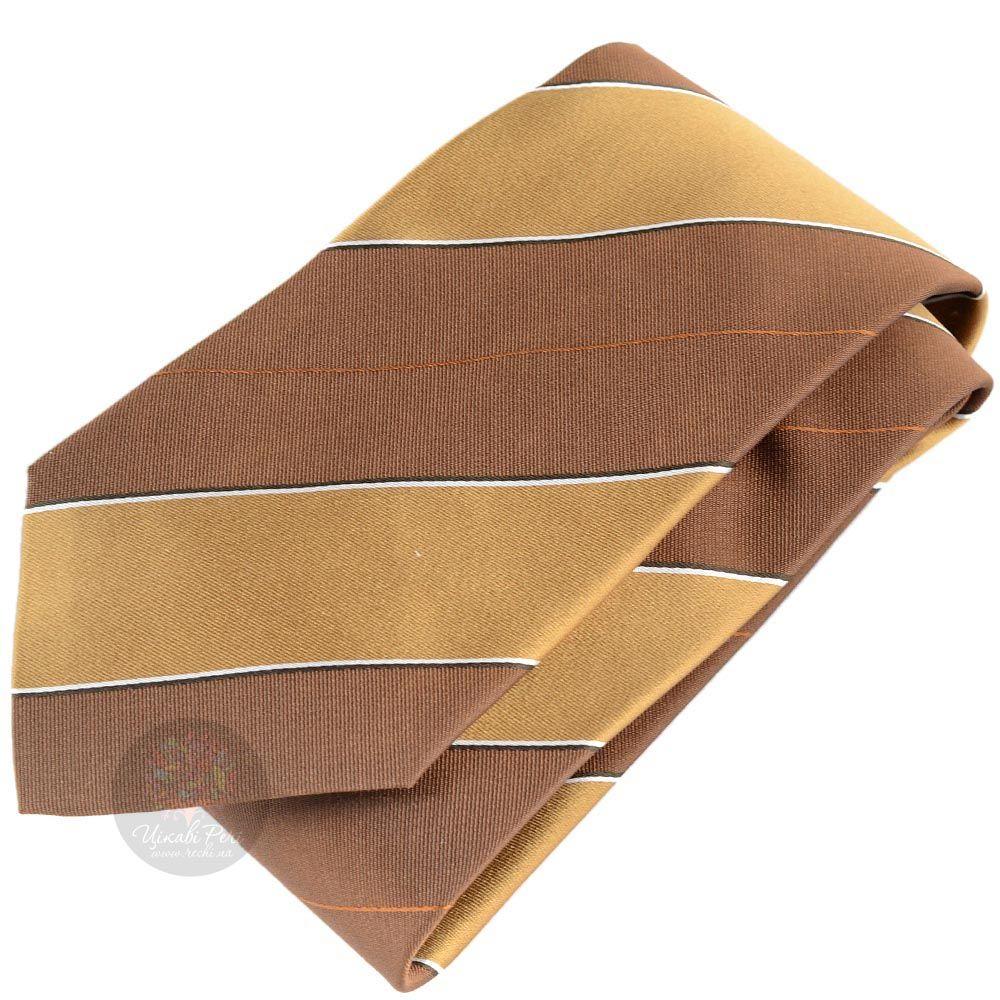 Галстук DKNY желто-коричневый с широкими полосками