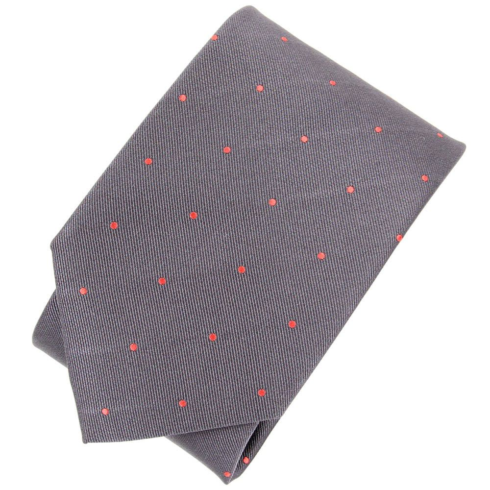 Серый галстук DKNY в мелкую красную точку