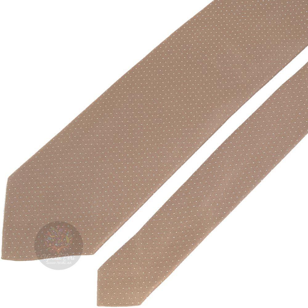 Галстук DKNY песочного цвета в мелкую белую точку