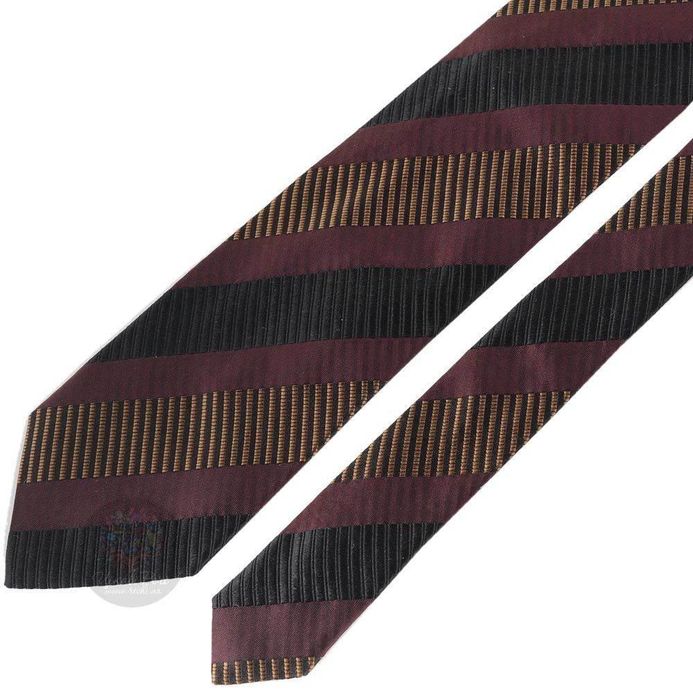 Галстук DKNY коричнево-бордового цвета в черную и золотую полоску