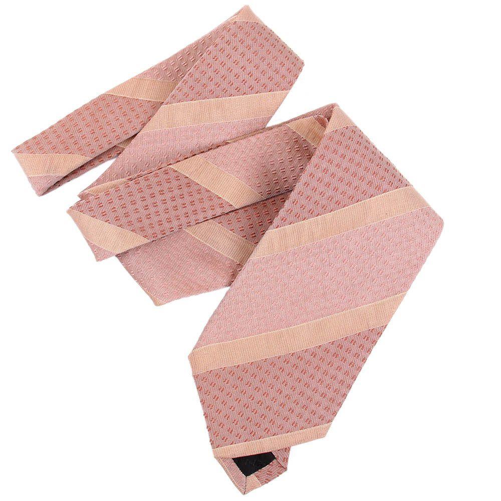 Галстук DKNY розового цвета в бежевые полоски разной ширины