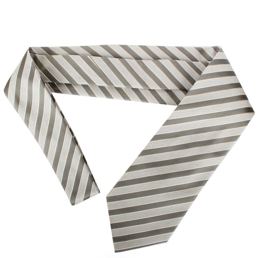 Серый галстук DKNY с полосками серебристого цвета