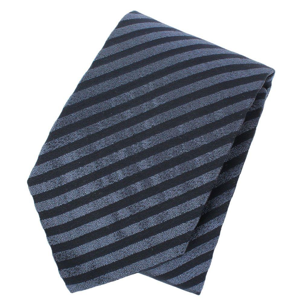 Галстук DKNY шелковый цвета кобальт в полоску с серебристым отливом