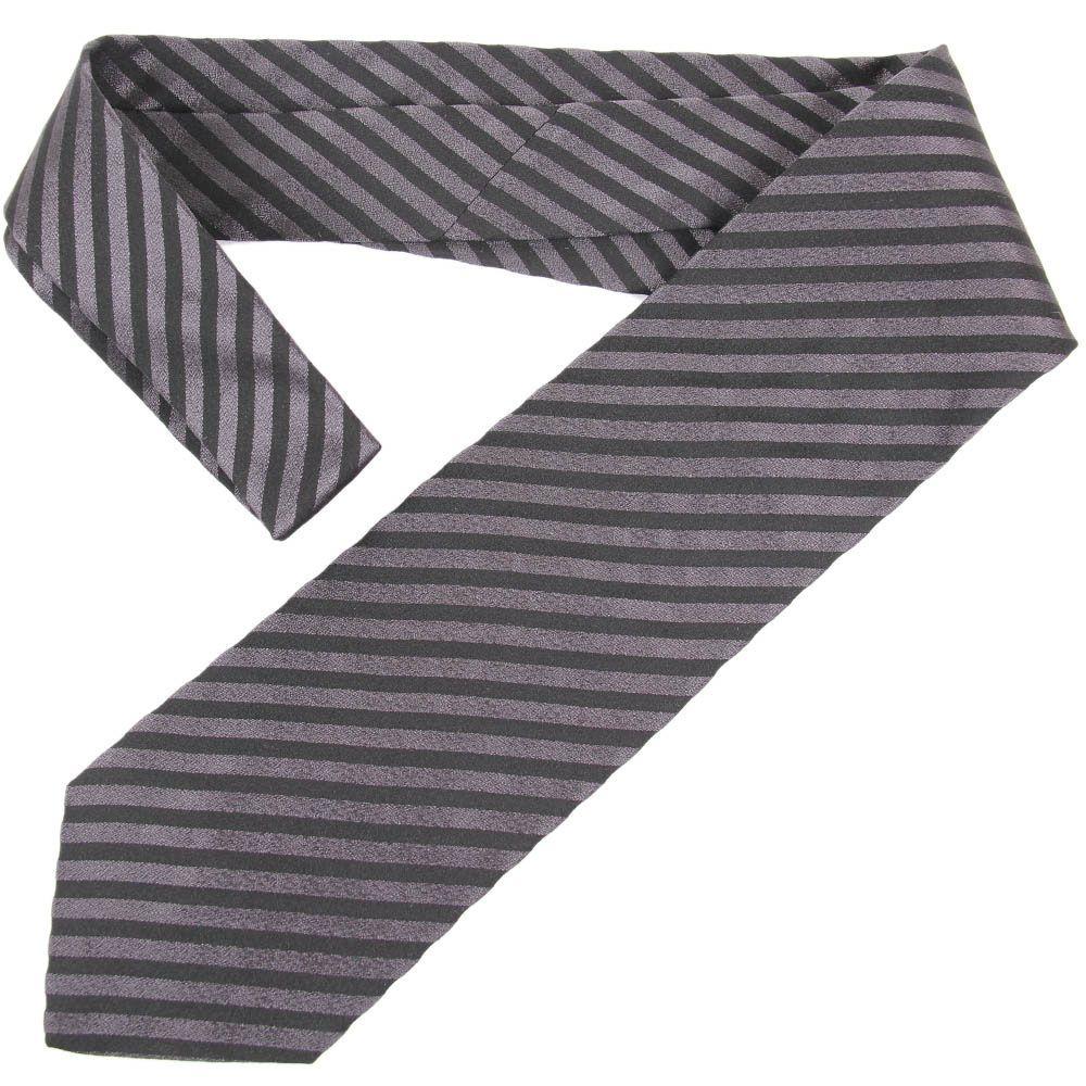 Черный галстук DKNY в серую полоску средней ширины