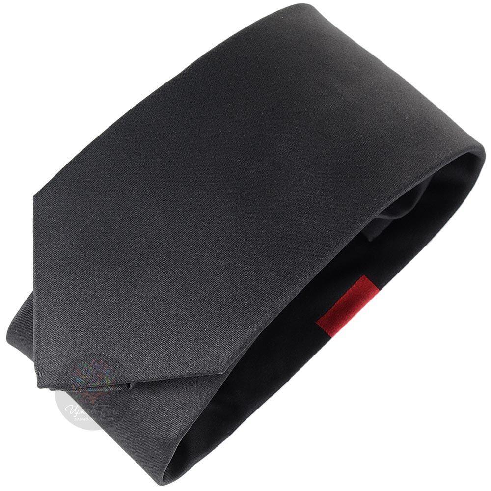 Галстук DKNY черного цвета с красной полоской