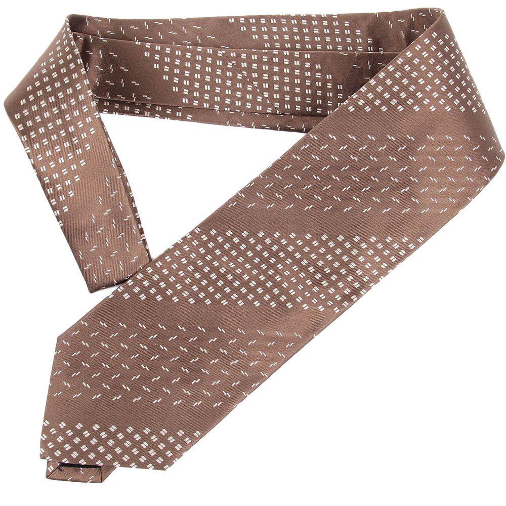 Коричневый галстук DKNY с полосками из орнаментов