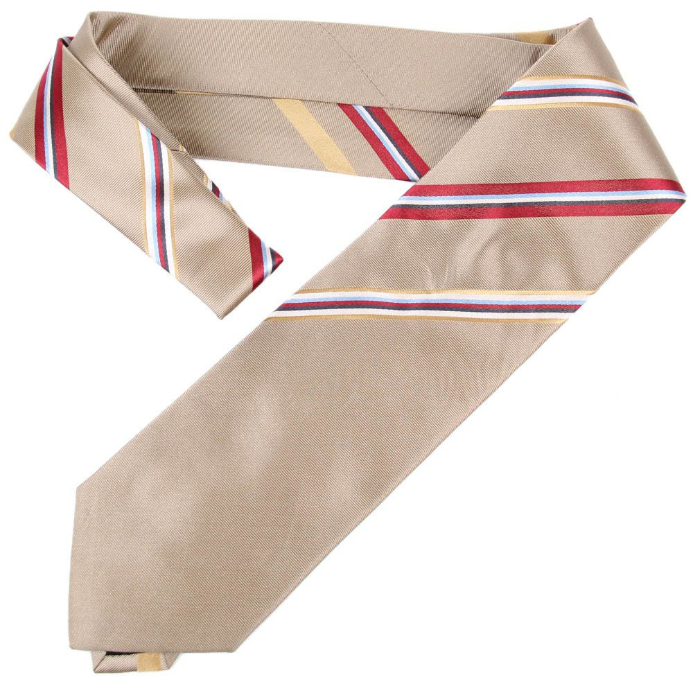 Темно-бежевый галстук DKNY с узкими разноцветными полосками