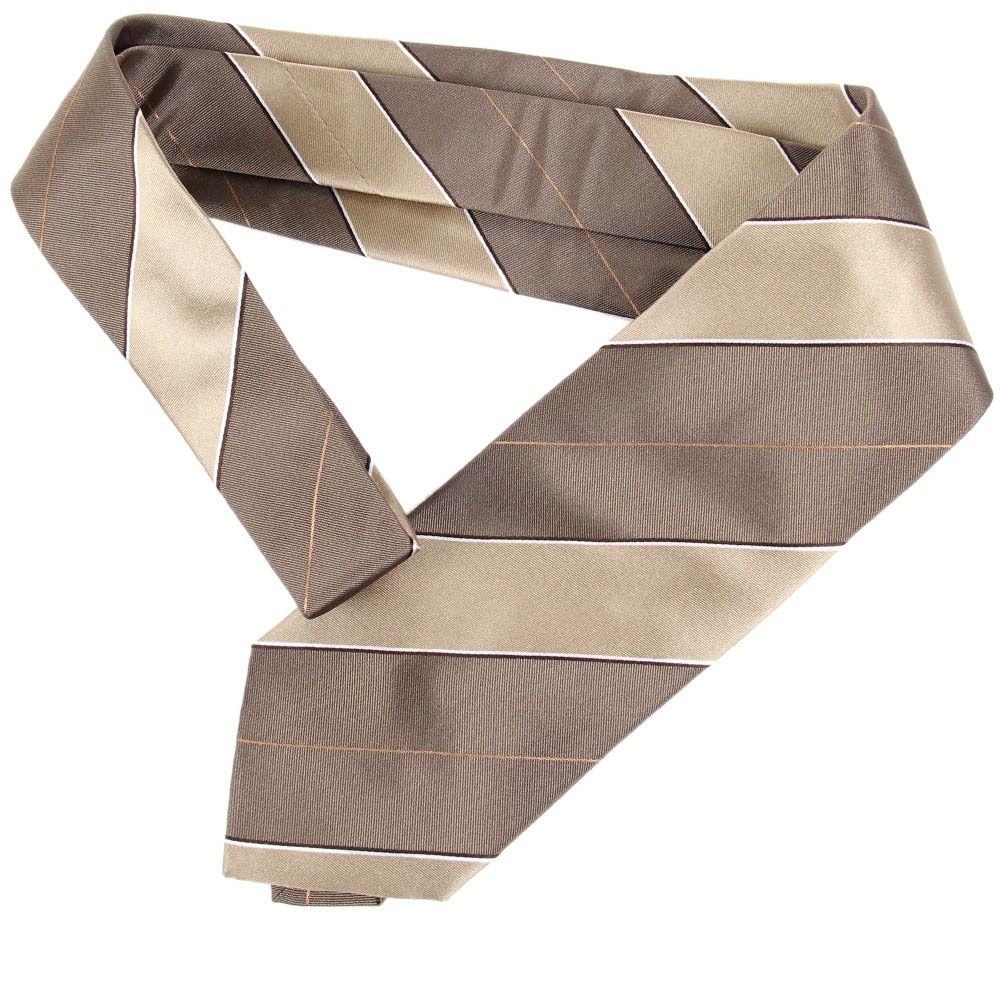 Шелковый галстук DKNY темно-бежевого цвета в широкую светло-бежевую полоску