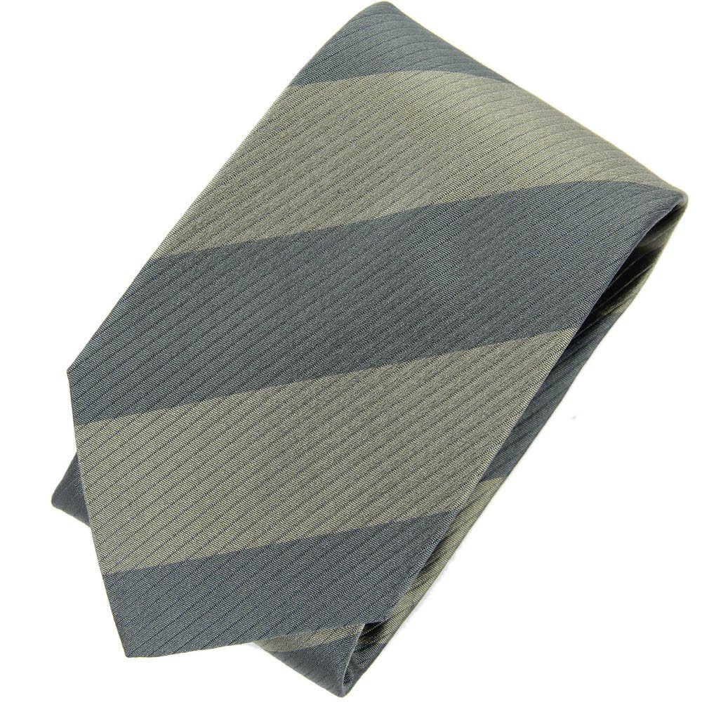 Темно-зеленый галстук DKNY в широкую полоску оливкового цвета